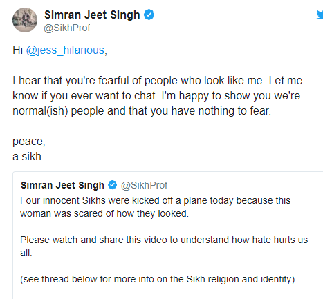 Jess Hilarious apologizes to Muslim community after four Sikhs were removed from a plane when she said she felt threatened by their presence