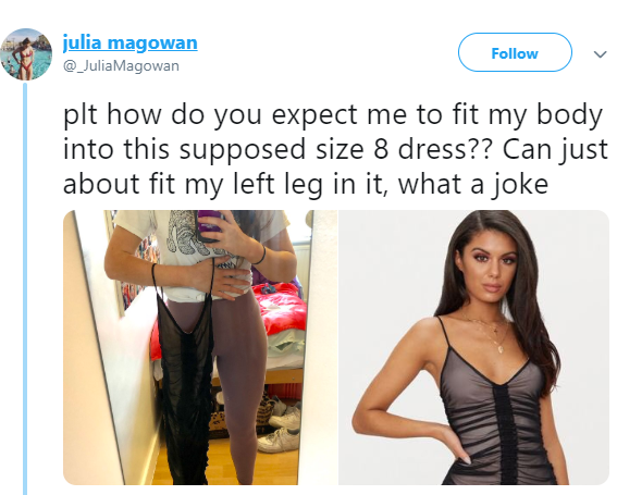 Size 8 woman receives a shocker after she buys a size 8 dress online but gets one that only fits into 1 leg