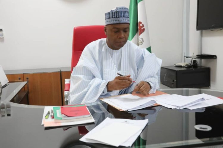 Photos: Bukola Saraki signs National Minimum Wage Bill