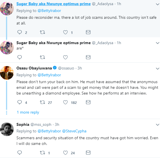 Betty Irabor tweets about a job seeker