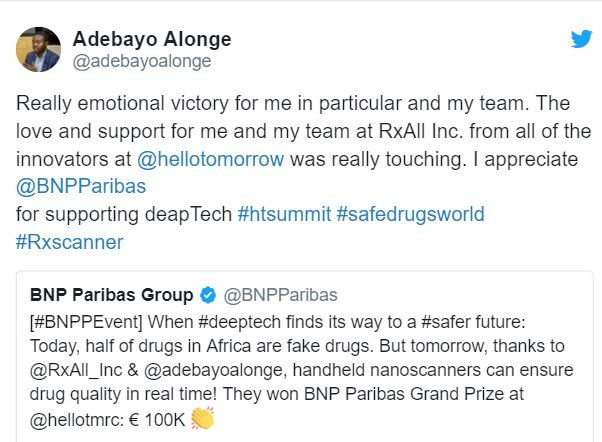 Nigerian victim of fake drugs, Adebayo Alonge break down?in tears after winning?tech award for inventing nanoscanners that can detect fake drugs