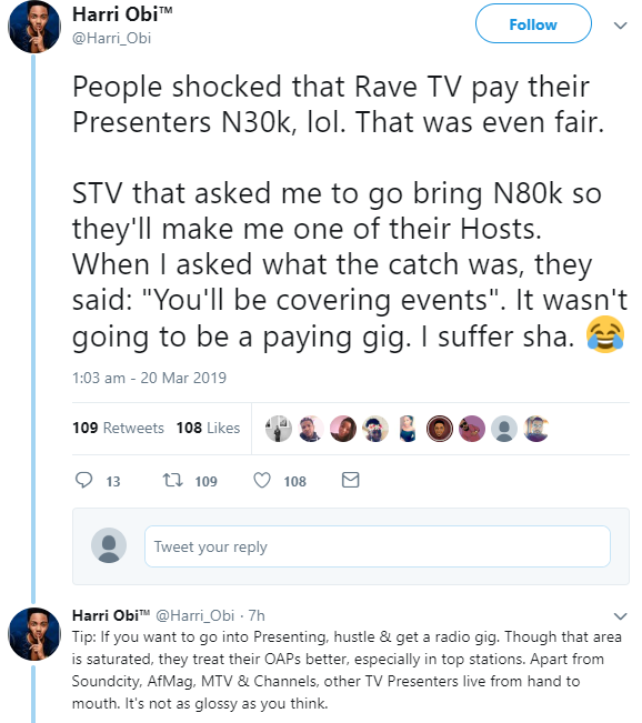 """""""Presenters live from hand to mouth"""" Media personality, Harri Obi, opens up about how little his colleagues earn"""