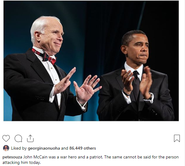 Pete Souza goes in hard as he shades Donald Trump for criticizing John McCain