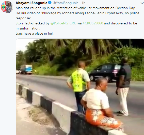 Police reacts to video purportedly showing armed robbers keeping passengers stranded along Lagos-Benin expressway