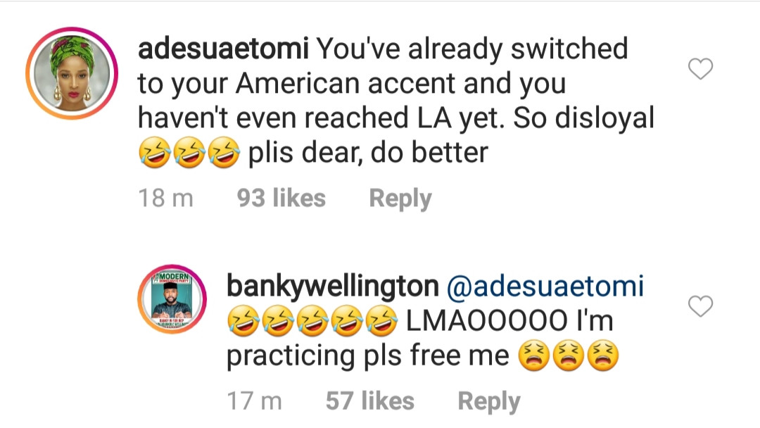 Between Adesua Etomi, her hubby Banky W and his American accent