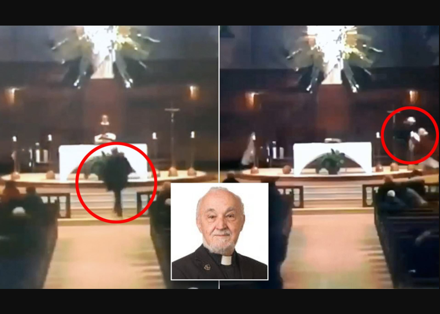 Watch horrifying moment man stabs a Catholic priest as he conducts a televised mass in Canada (Video)