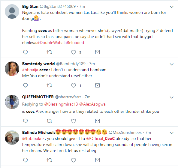 ?#BBNReunion: Twitter Nigeria reacts after Cee-C claimed that Alex and Tobi had sex in her hotel room in SA (Screenshots)
