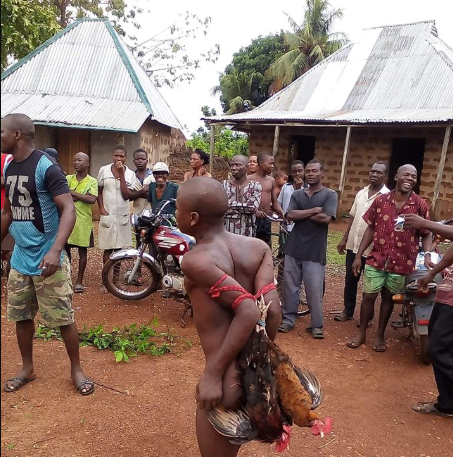 Alleged chicken thief is stripped naked, bound and paraded for theft