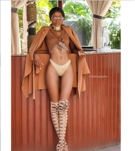 Nigerian model, Ramat flaunts her long legs as she poses in her panties....but fans notice a little more (photo)