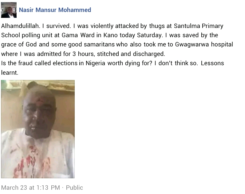 Photo: Man narrates how good Samaritans saved him after he was brutally attacked by thugs during Kano supplementary elections