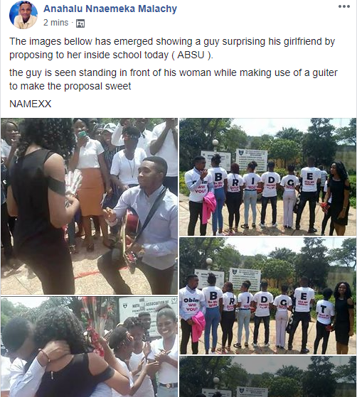 See the unique way an ABSU student publicly proposed to his girlfriend on campus