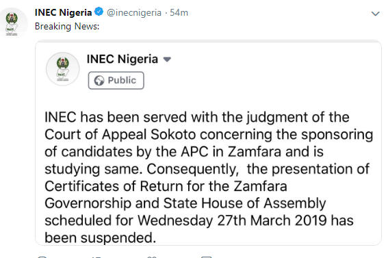 INEC suspends presentation of Certificate of Returns to Zamfara Governorship and State House of Assembly members-elect