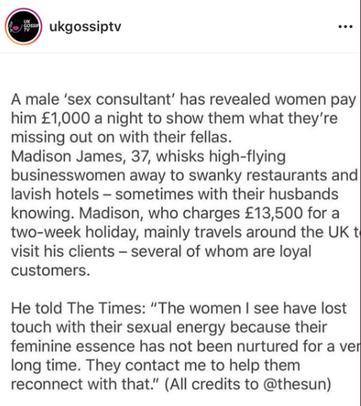 "Twitter users point out the double standards as a male prostitute is referred to in the media as a ""sex consultant"""