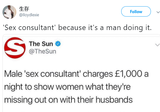 """Twitter users point out the double standards as a male prostitute is referred to in the media as a """"sex consultant"""""""