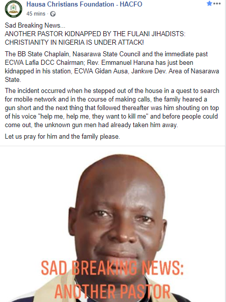 Pastor kidnapped by unknown gunmen in Nasarawa state