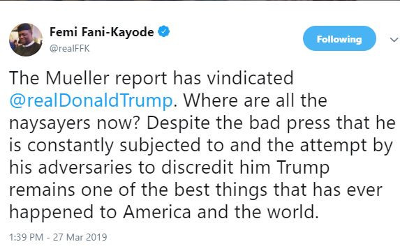Trump remains one of the best things that has ever happened to America and the world - FFK