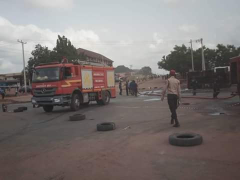 Photos: Many injured, some fearef dead as tanker collides with bus in Anambra