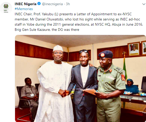 INEC offers automatic employment to Corps member who lost his sight during the election (photo)