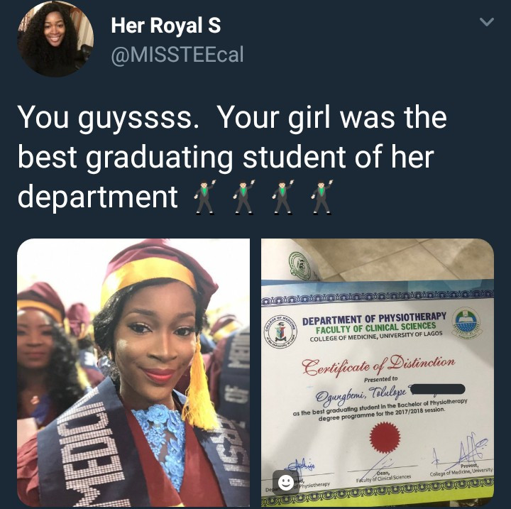 Pretty lady celebrates as she bags award for best graduating student in UNILAG