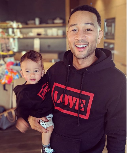 Adorable new photo of John Legend and his lookalike son posing in matching hoodies