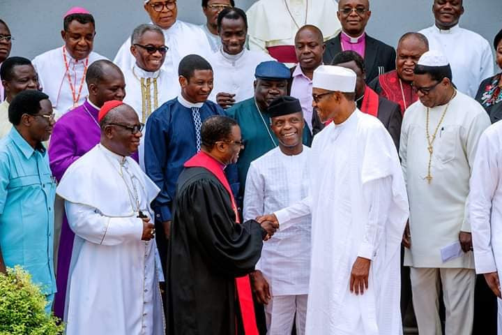 Photos: President Buhari receives CAN leaders at the state house