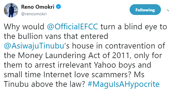 EFCC is turning a blind eye to Tinubu and going after Yahoo boys and small time internet love scammers- Reno Omokri