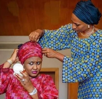 Here is what Reno Omokri has to say about this photo of Dolapo Osinbajo tying Aisha Buhari