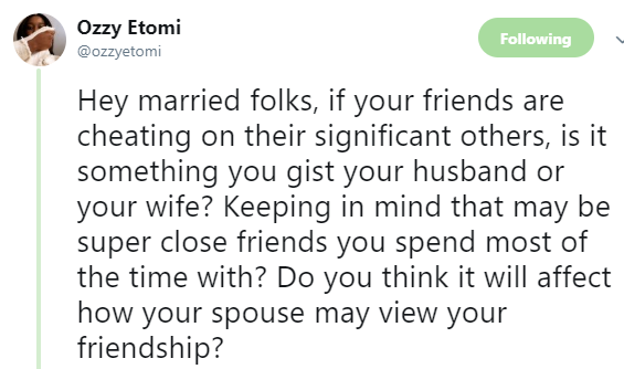Twitter user poses very interesting question to couples