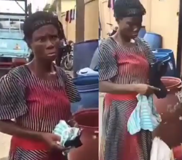 Video: Elderly woman caught stealing panties and pads from a dustbin