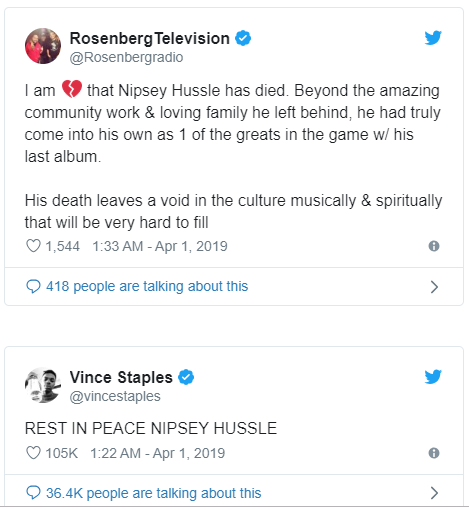 Rihanna, Drake, J.Cole, Meek Mill, Lebron James, Snoop Dogg and more stars mourn slain rapper Nipsey Hussle