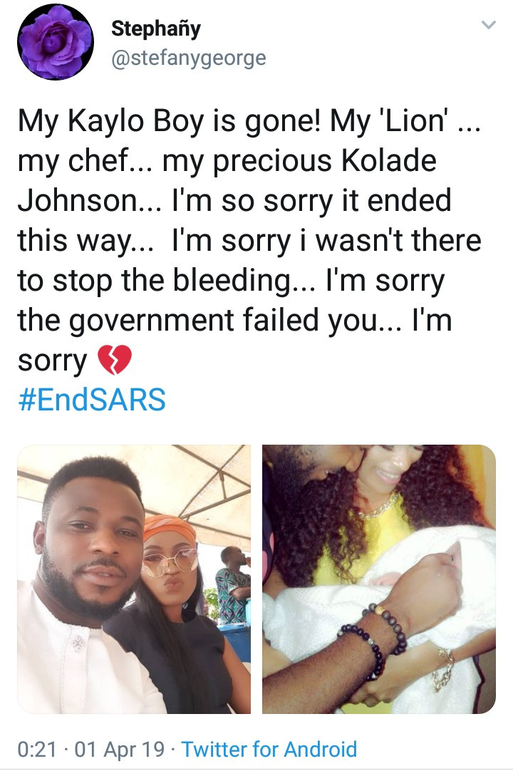 Twitter users mourn young father allegedly shot dead by SARS officials