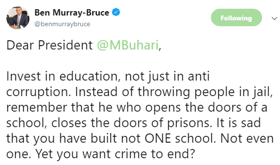 Invest in education, not just in anti corruption - Ben Bruce tells President Buhari