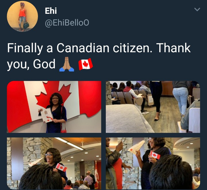 Nigerian lady who just received her Canadian citizenship says she