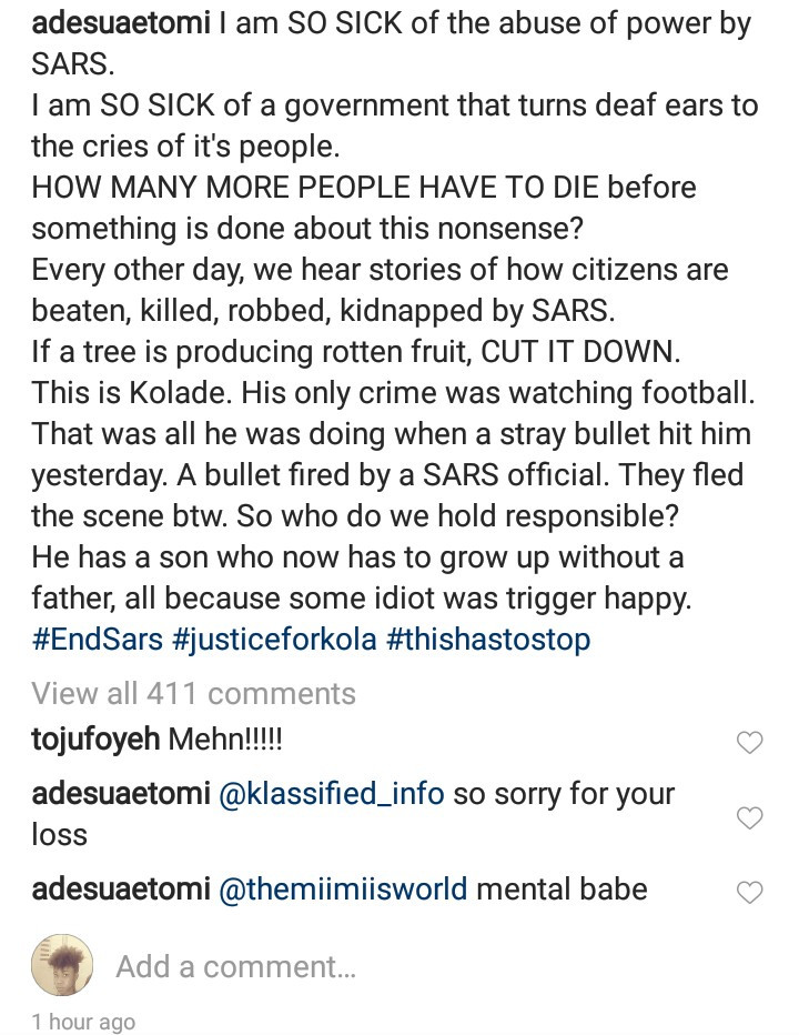 """His only crime was watching football"" - Adesua Etomi speaks up for the young man allegedly shot dead by SARS officials"