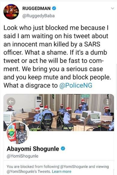 Assistant commissioner of Police, Yomi Shogunle blocks Ruggedman on Twitter for asking his opinion on SARS and Kolade Johnson