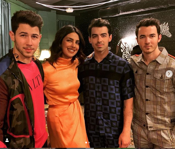 Priyanka Chopra Poses With Her Husband And His Brother Backstage As She Attends Her First Ever Jonas Brothers Concert  (Photos)