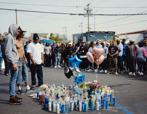 Gunshots fired and several people injured as vigil held in honour of Nipsey Hussle ends in a stampede (Photos)