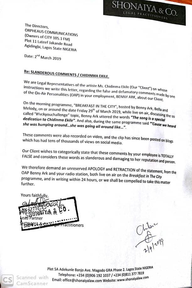 Chidinma demands?apology from City FM after an OAP said Kizz Daniel