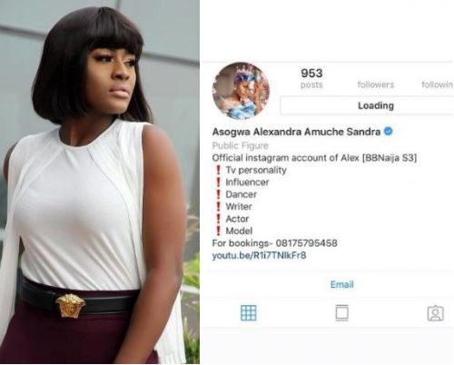 BBNaija star, Alex deactivates her Instagram account