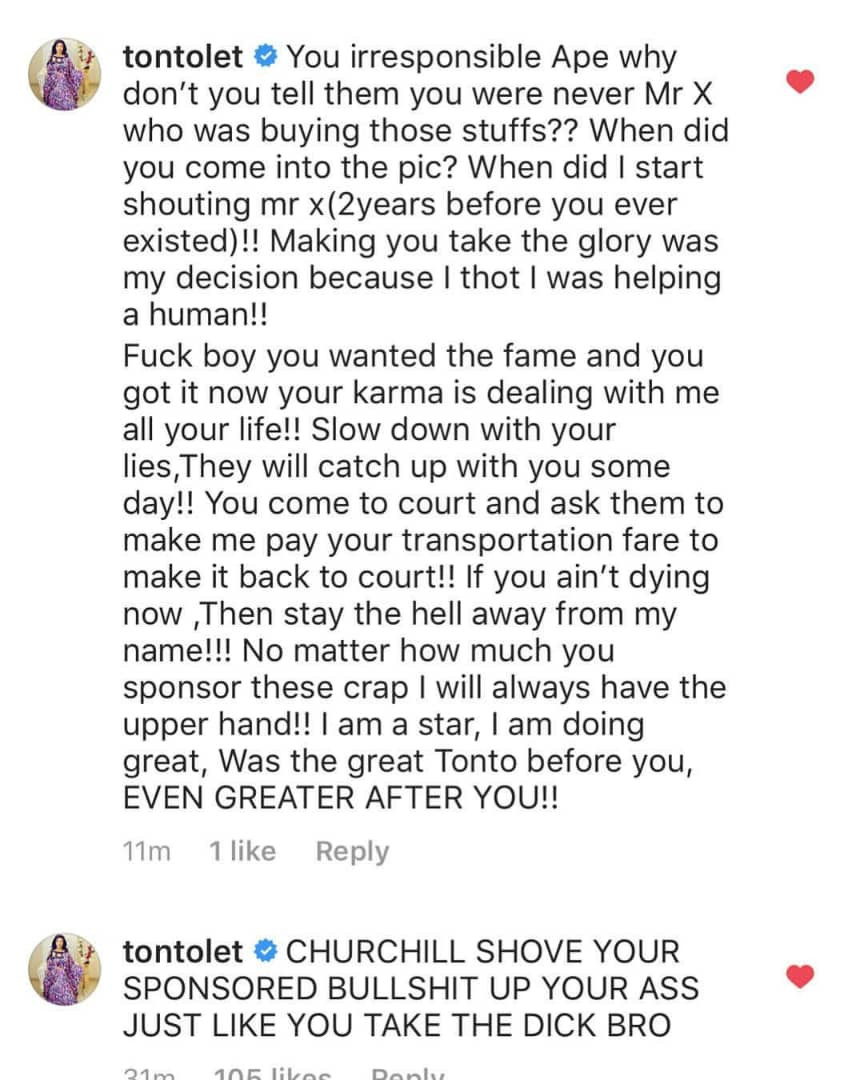 Tonto Dikeh drags ex-hubby, Olakunle Churchill after anonymous twitter user attacked her over her recent change of name for their son, Andre