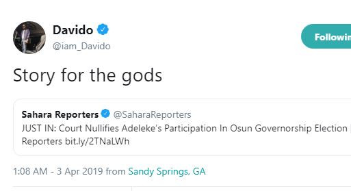 ?Story for the gods? ? Davido reacts to Senator Adeleke?s election nullification over