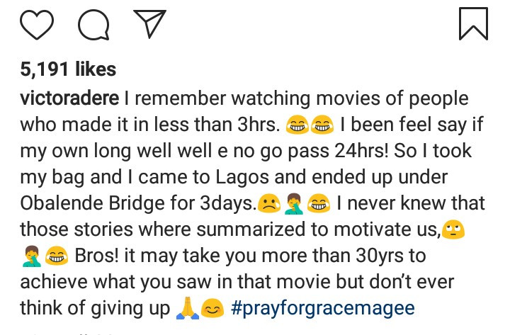 Victor Adere recalls sleeping under Obalende bridge for days after arriving into Lagos for the first time