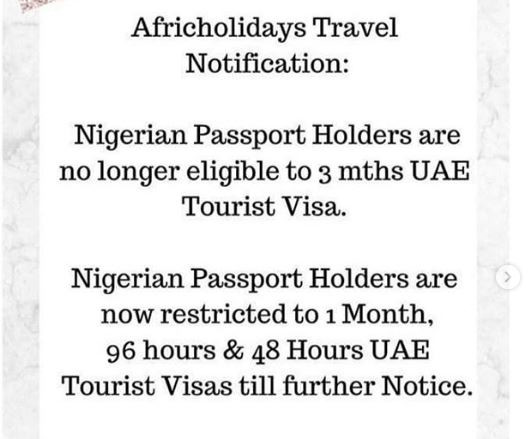 UAE cancels Three months tourist visa for Nigerian passport holders until further notice