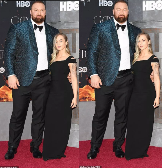 Games Of Throne Star, The Mountain Towers Over His Wife Kelsey Henson As They Attend Season 8 Premiere (Photos)