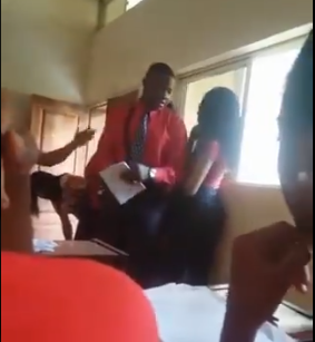 ABUAD student leaves his course mates in stitches after teacher punished him by asking him to sing (video)