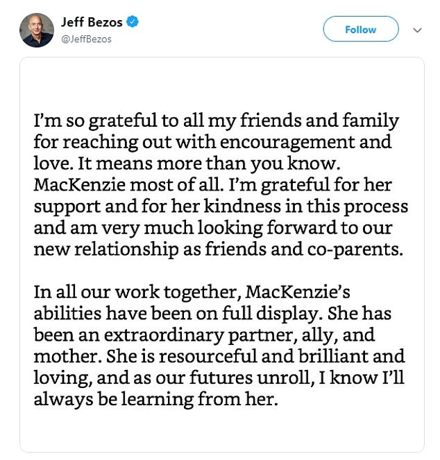 Breaking! Jeff Bezos settles his divorce with wife MacKenzie, giving her $32billion of his Amazon shares