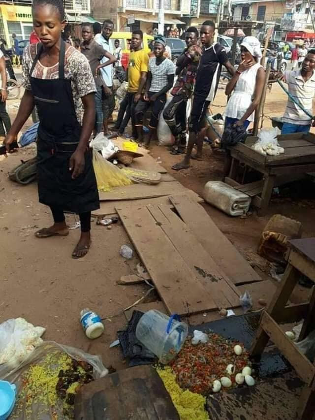 Daddy Showkey places a curse on Edo state task force team for disposing the cooler load of food being sold by a food seller