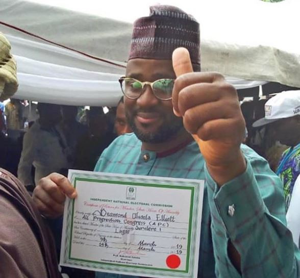 Photo: Desmond Elliot?receives his certificate of return to Lagos State House of Assembly