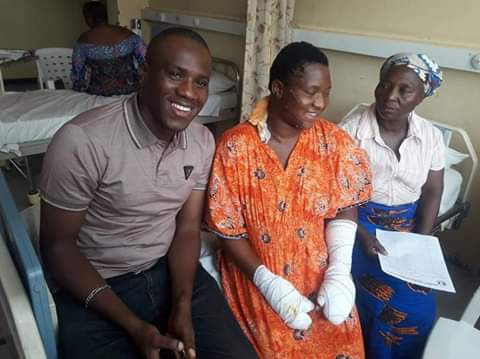 Lady who was brutally butchered by unknown persons on election day in Abuja, is all smiles in new photos