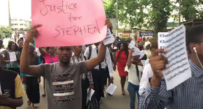 UNILAG students stage protest over killing of their colleague 24 hours after graduation